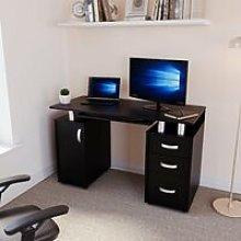 Otley 3 Drawer Computer Desk, Black