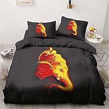 OTNYHBJ Duvet Cover Pillowcases Black yellow red
