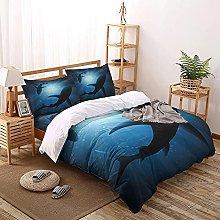 OTNYHBJ Duvet Cover Pillowcases Blue black white