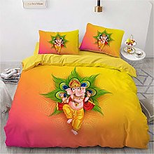 OTNYHBJ Duvet Cover Pillowcases Yellow pink green