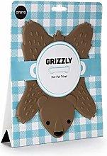 Ototo Bear Grizzly Shaped Pot Trivet, Brown
