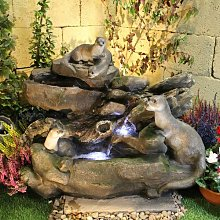 Otter Playground Animal Resin Water Feature with