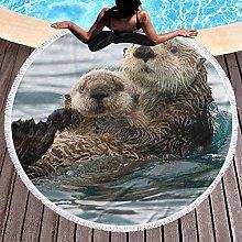 Otter Printed Round Beach Towel Yoga Picnic Mat