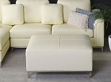 Ottoman Beige Genuine Leather Upholstered