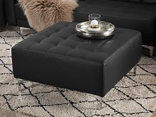 Ottoman Black Faux Leather Tufted Modern Living