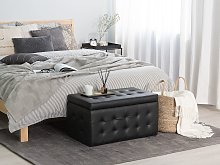 Ottoman Black Faux Leather Tufted Upholstery