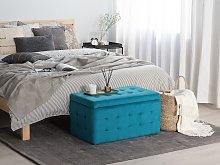 Ottoman Blue Velvet Tufted Upholstery Bedroom