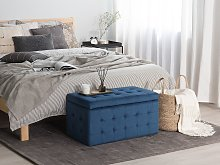 Ottoman Dark Blue Velvet Tufted Upholstery Bedroom