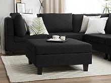 Ottoman Footstool Black Fabric Upholstered Square Minimalist Modern