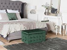 Ottoman Green Velvet Tufted Upholstery Bedroom
