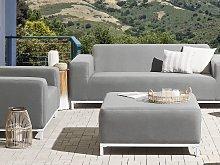 Ottoman Grey Polyester Upholstery White Aluminium