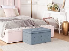Ottoman Grey Velvet Tufted Upholstery Bedroom