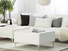 Ottoman White Faux Leather Tufted Modern Living