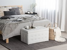 Ottoman White Faux Leather Tufted Upholstery