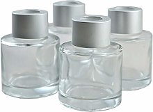 Ougual Set of 4 Cylindrical Round Glass Essential