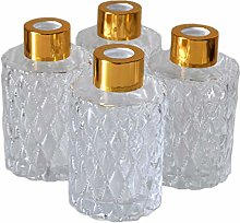 Ougual Set of 4 Diamond Carving Cylindrical Glass