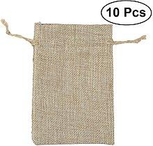 OUNONA 10pcs Linen Drawstring Bag Cord Bag Storage
