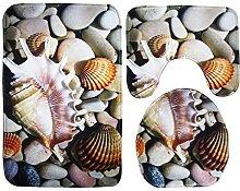 OUNONA Toilet Cover Rug Conch Pebble Seaside Beach