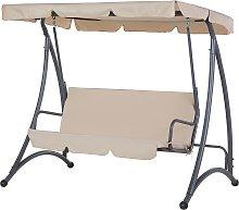 Outdoor 3 Seater Swing Beige TEMPLE