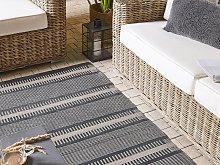 Outdoor Area Rug Beige Black Recycled