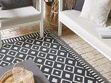Outdoor Area Rug Black and White Recycled