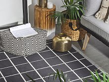 Outdoor Area Rug Black Synthetic 120x180 Chequered