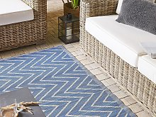Outdoor Area Rug Blue Recycled Polypropylene 120 x
