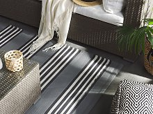 Outdoor Area Rug Grey 160 x 230 cm Striped Pattern