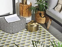 Outdoor Area Rug Grey and Yellow Synthetic