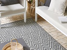 Outdoor Area Rug Grey Synthetic Material 120 x 180