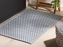 Outdoor Area Rug Navy Blue Synthetic Materials