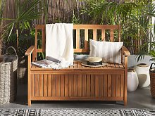 Outdoor Bench with Storage Solid Acacia Wood 2 Seater 120 cm Light Colour