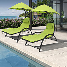 Outdoor Chaise Lounge Chair with Umbrella and