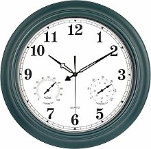 Outdoor Clock with Thermometer & Hygrometer Combo,