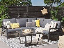 Outdoor Corner Sofa Set Dark Grey Aluminum Black
