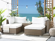 Outdoor Cushion Cover Set Cream Fabric Sofa Seat Back Side Pillow Cases UV Resistance