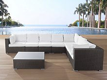 Outdoor Cushion Cover Set for Garden Sofa Seat and Backrest Cushions White Fabric