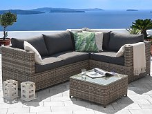 Outdoor Cushion Cover Set Grey Fabric Sofa Seat Backrest Pillow Cases
