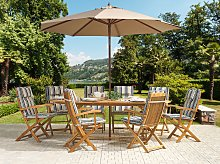 Outdoor Dining Set Light Acacia Wood with Striped