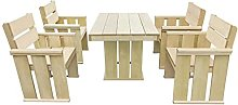 Outdoor Dining Set Wooden, Garden Table and Chairs
