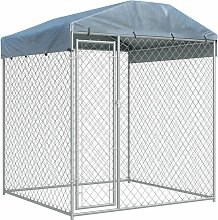 Outdoor Dog Kennel with Canopy Top 193x193x225 cm