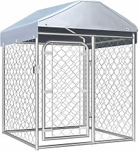 Outdoor Dog Kennel with Roof 100x100x125 cm -