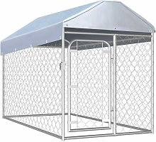 Outdoor Dog Kennel with Roof 200x100x125 cm -