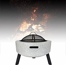 Outdoor Fire Pit, Black/White Imitation Marble