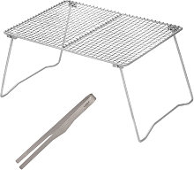 Outdoor Foldable Titanium Grill Net with Tongs