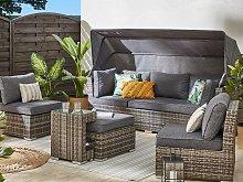 Outdoor Garden Set Grey Dark Brown PE Rattan Sofa