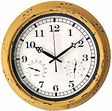 Outdoor Garden Wall Clock, With Thermometer &