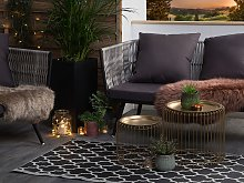 Outdoor Indoor Area Rug Black And White PP 90 x