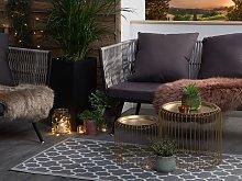 Outdoor Indoor Area Rug Grey PP 90 x 180 cm