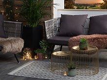 Outdoor Indoor Rug Grey PP 90 x 150 cm Geometric